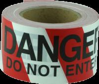 Danger Do Not Enter Red & White Barricade Tape